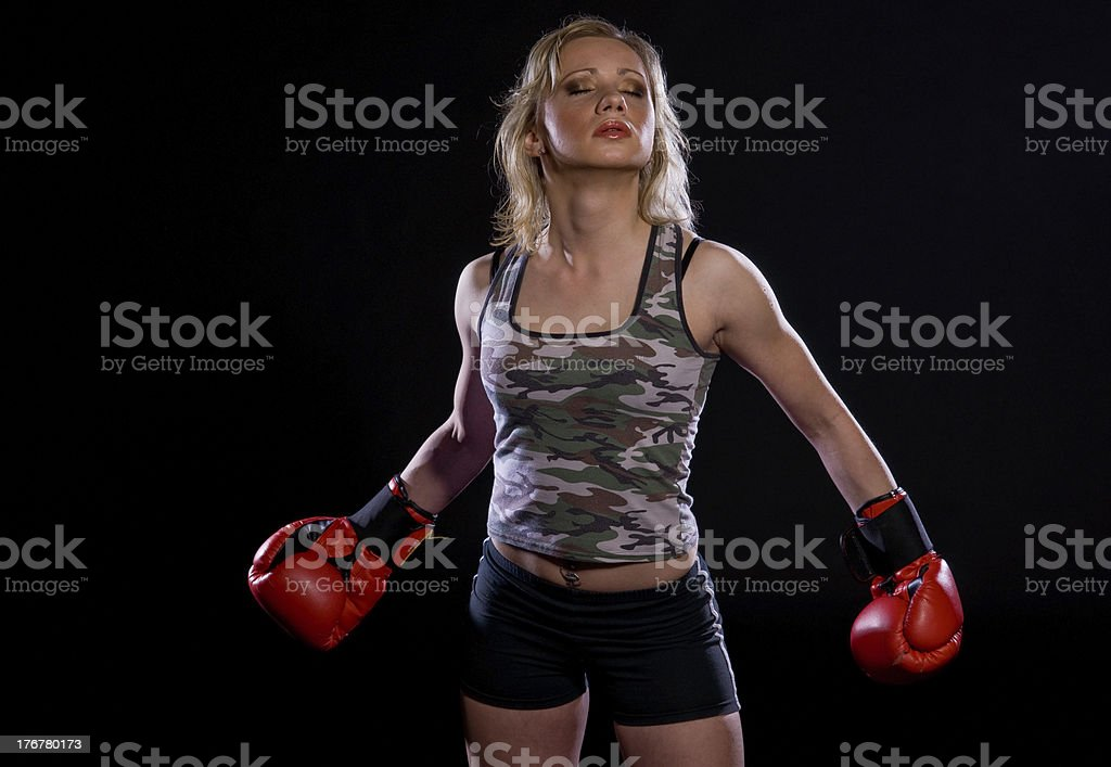 girl with boxing gloves royalty-free stock photo