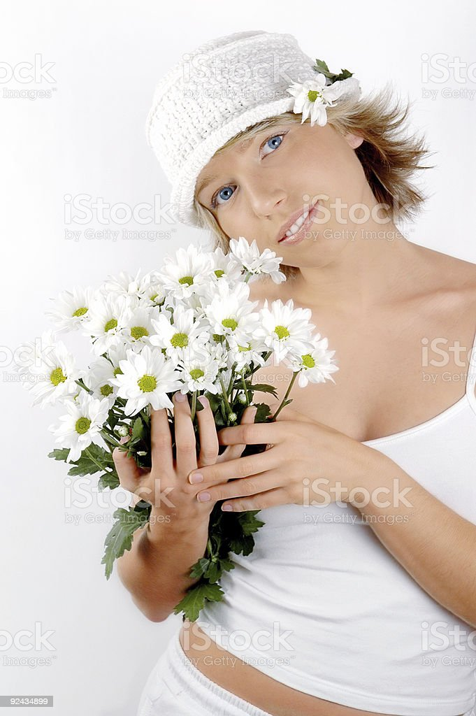 Girl with bunch of flowers royalty-free stock photo