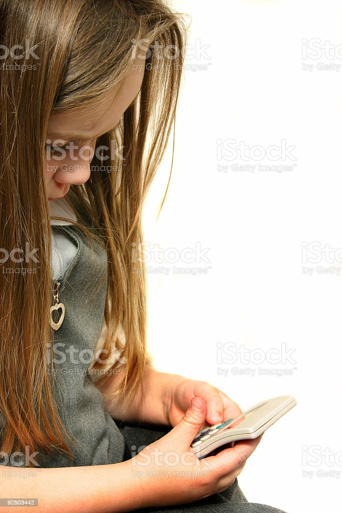 Girl with Calculator royalty-free stock photo
