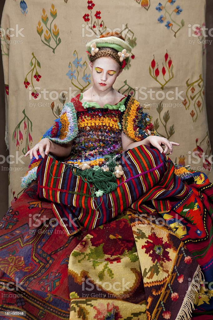 girl with carpets6 royalty-free stock photo