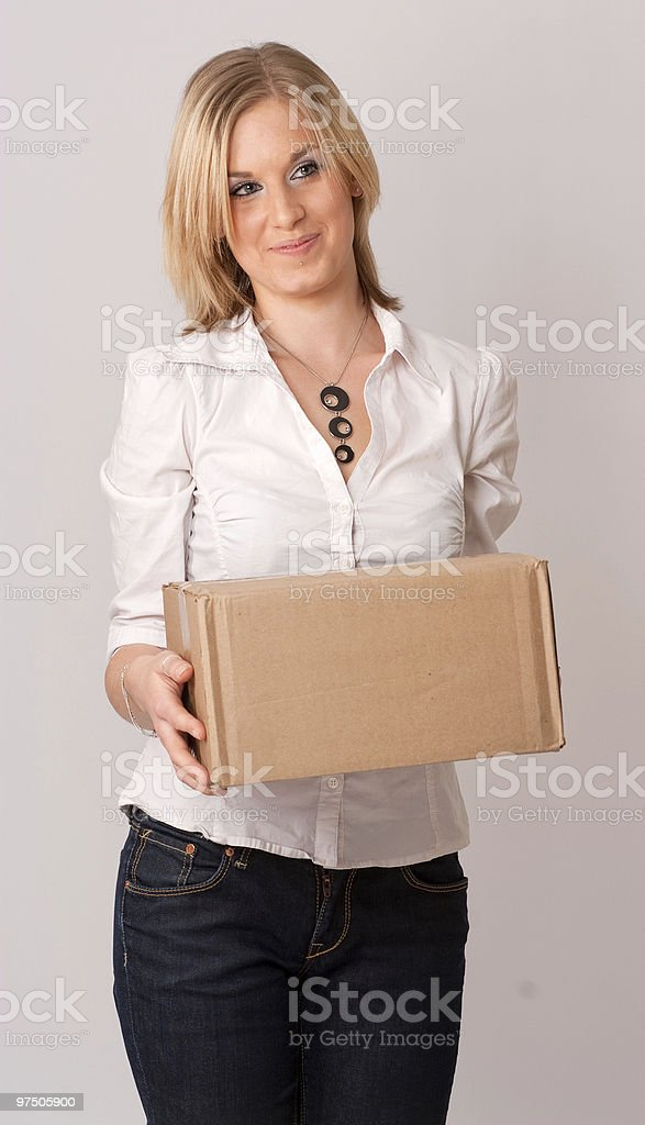 Girl with carton royalty-free stock photo