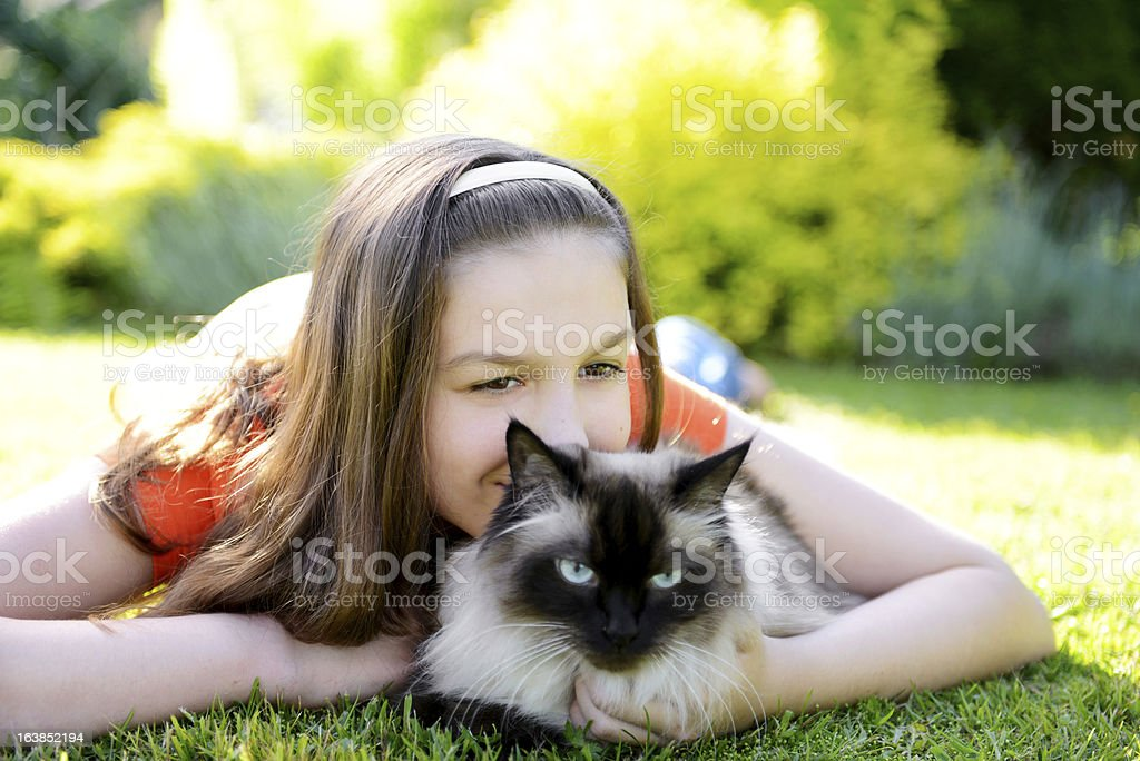 Girl with cat stock photo