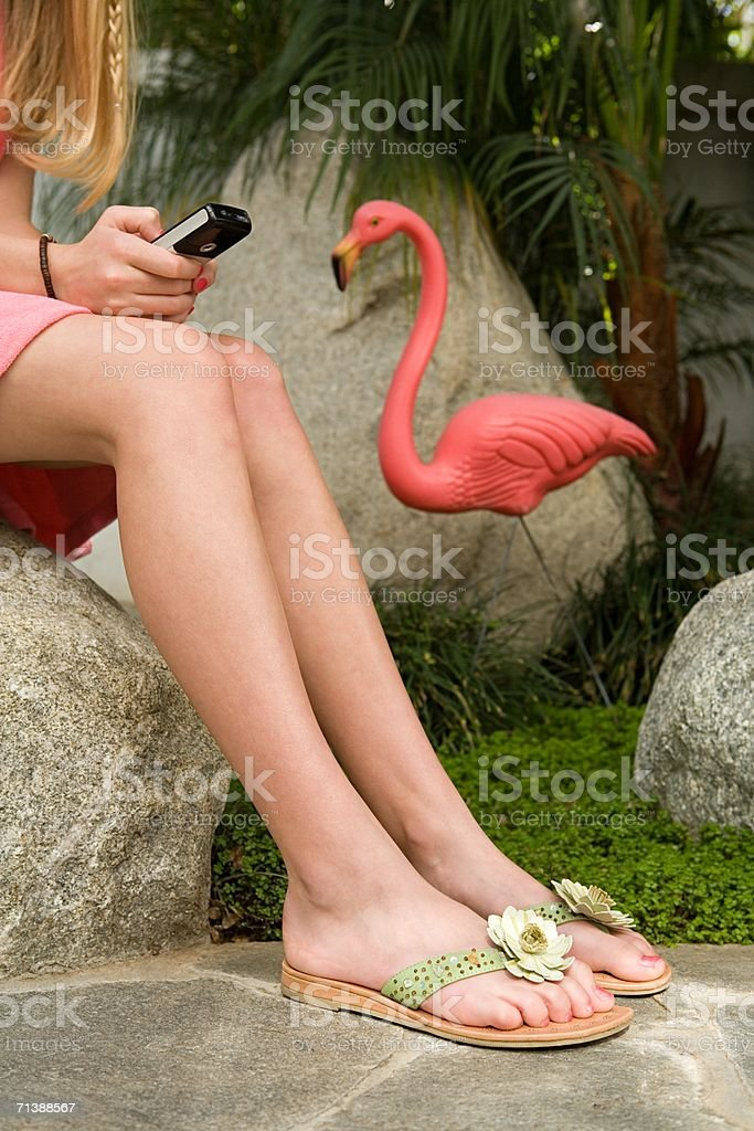 Girl with cellular phone royalty-free stock photo