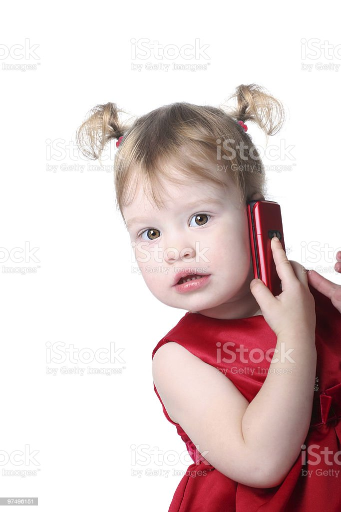 girl with cellular royalty-free stock photo