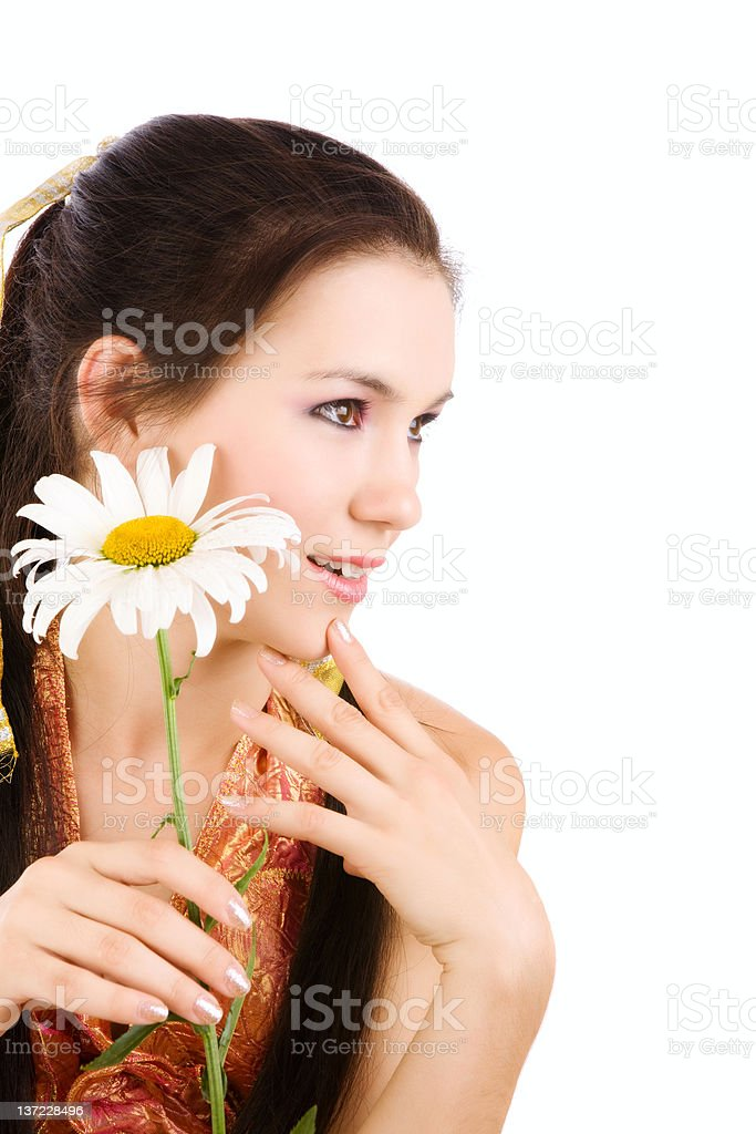 girl with chamomile royalty-free stock photo