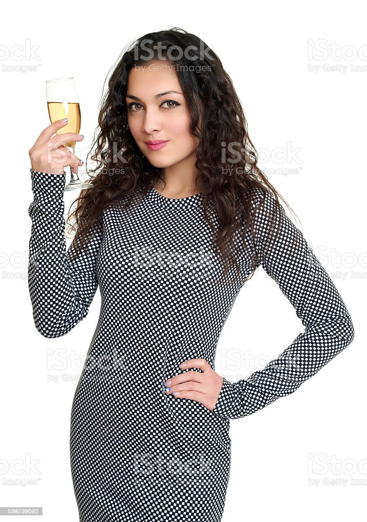 girl with champagne glass beauty portrait, long curly hair, isolated royalty-free stock photo