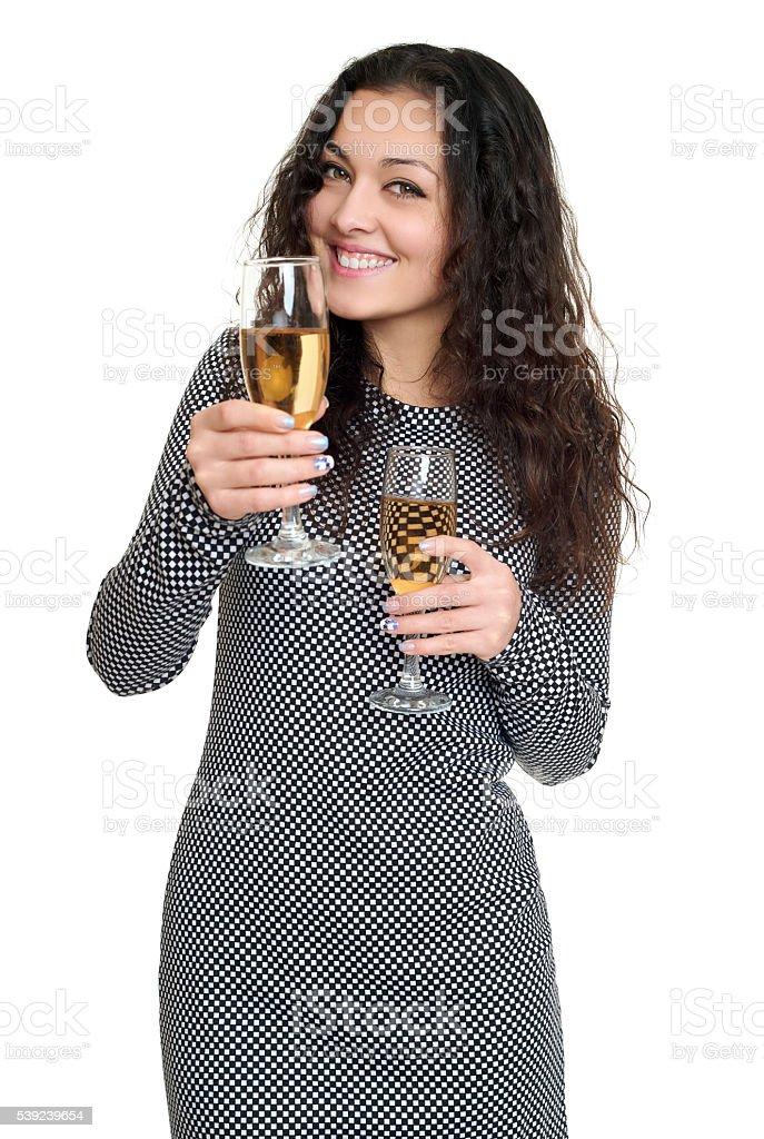 Chica con copa de champán Retrato de belleza, pelo rizado largo, aislado foto de stock libre de derechos