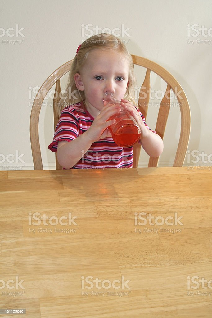 Girl with Cherry Soda, 2nd of 2 royalty-free stock photo