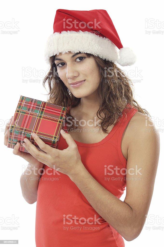 Girl with christmas box royalty-free stock photo