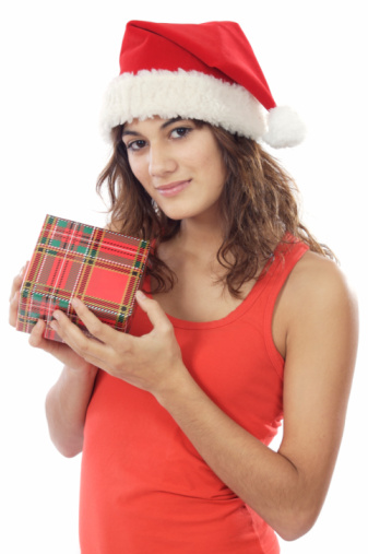 Girl With Christmas Box Stock Photo - Download Image Now