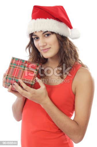 Girl With Christmas Box Stock Photo & More Pictures of Adult