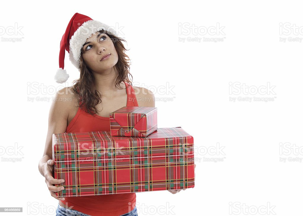 Girl with christmas boxes royalty-free stock photo