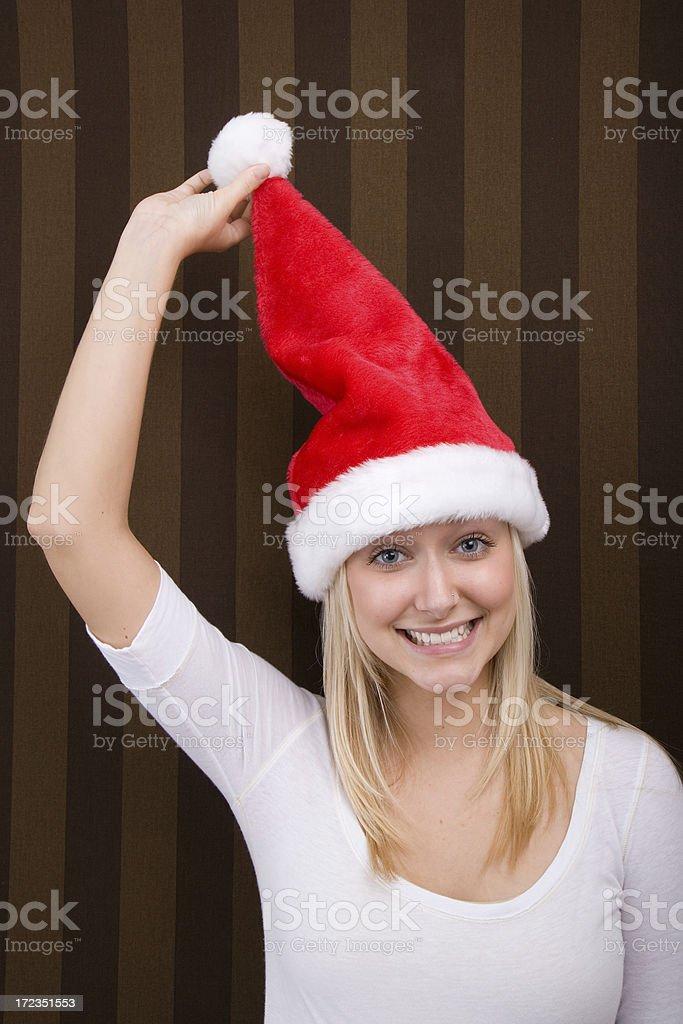 Chica con sombrero de Navidad foto de stock libre de derechos