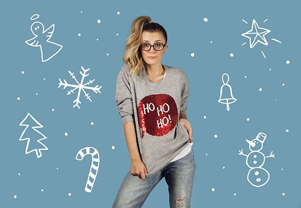 girl with christmas illustrations - damen hosen angels stock-fotos und bilder