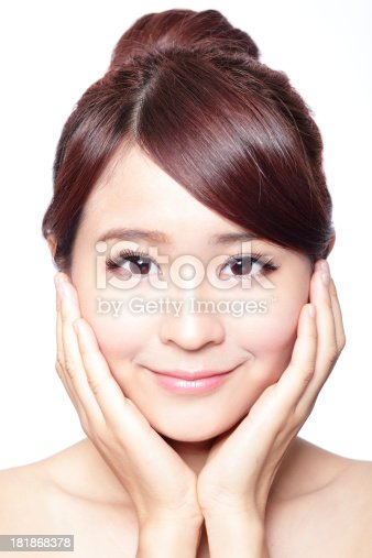 istock girl with clean skin on pretty face 181868378