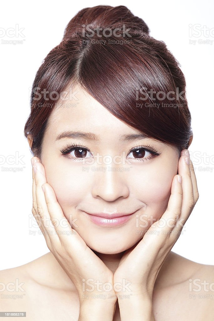 girl with clean skin on pretty face stock photo