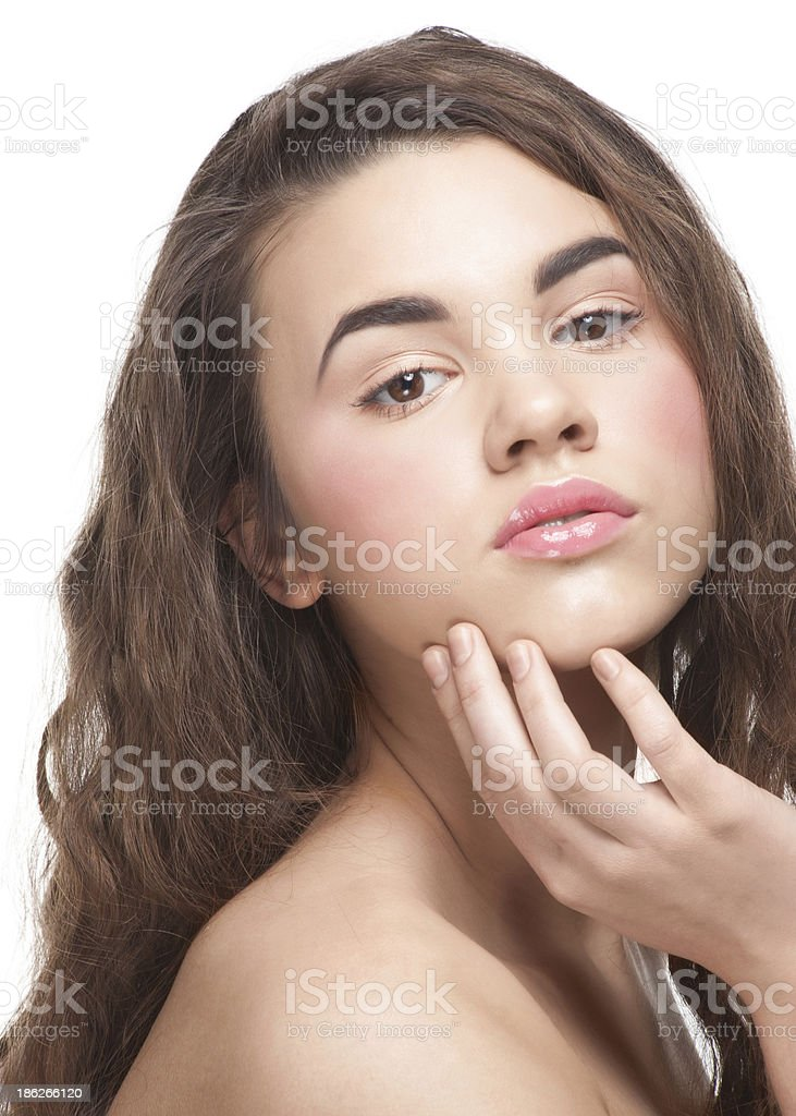 Girl with clear healthy skin stock photo