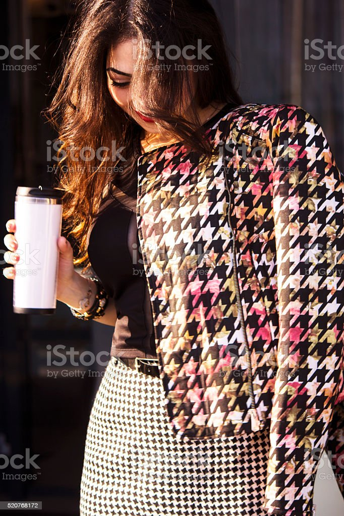 Girl with coffee stock photo