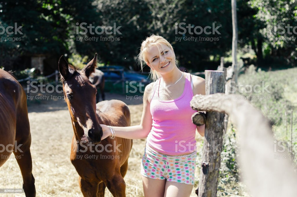 girl with colt in cote stock photo