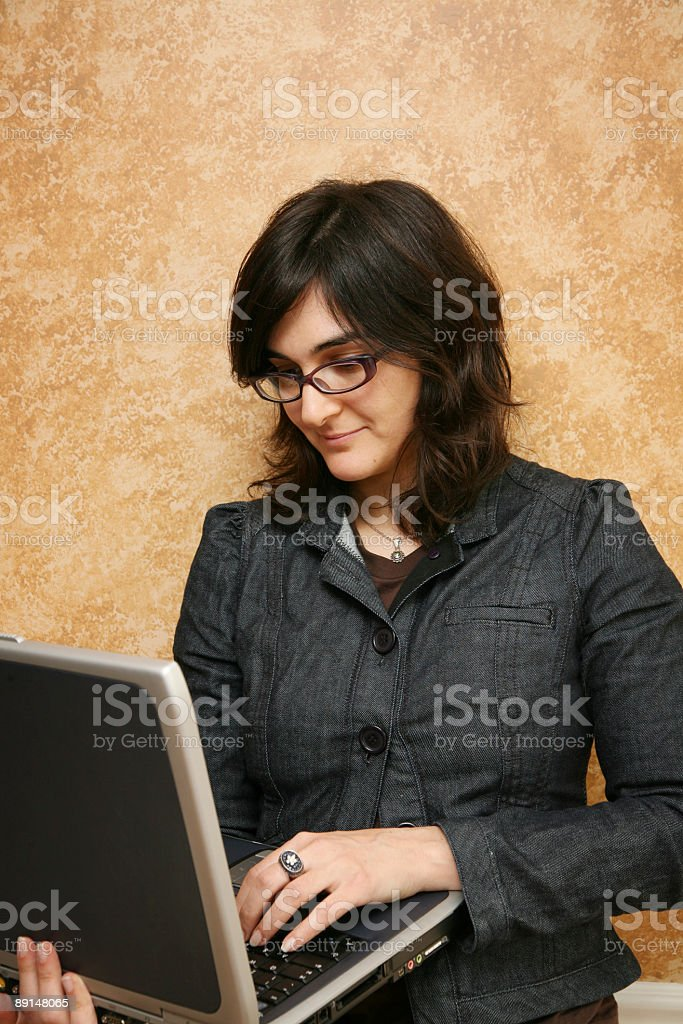 Girl with computer royalty-free stock photo