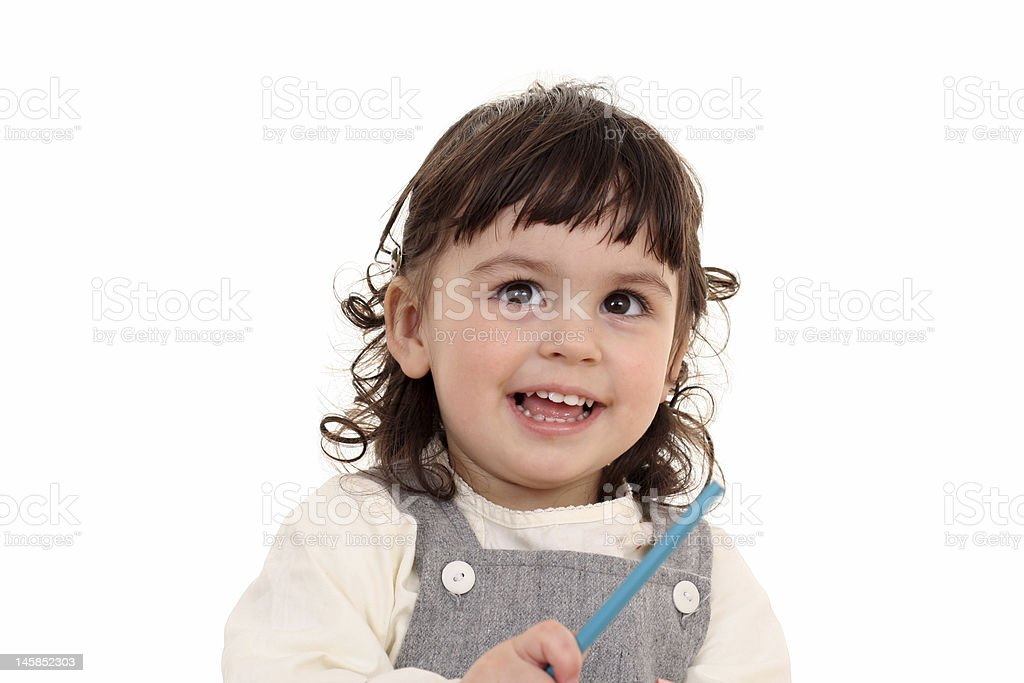 girl with crayons royalty-free stock photo
