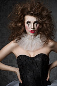 istock girl with crazy clown vintage style 476864456
