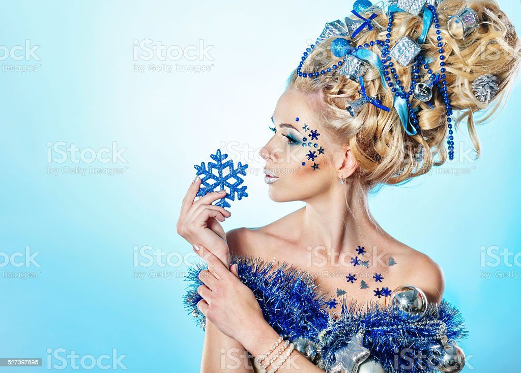 Girl with creative hair style Christmas stock photo