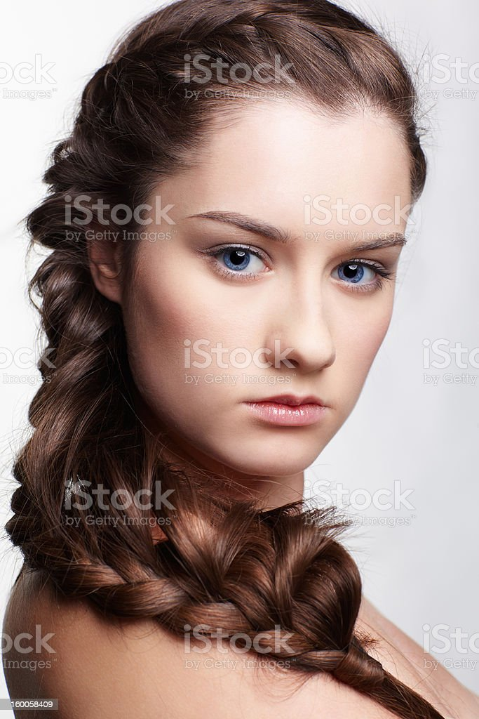 girl with creative hair-do royalty-free stock photo
