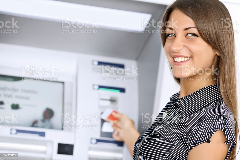 Girl with credit card. royalty-free stock photo