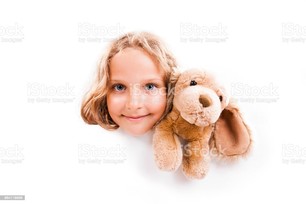 Girl with Cuddly Banner royalty-free stock photo