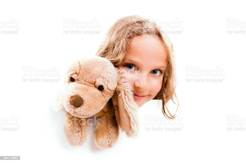 Girl with Cuddly Dog Banner royalty-free stock photo
