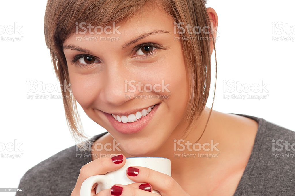 Girl with cup royalty-free stock photo