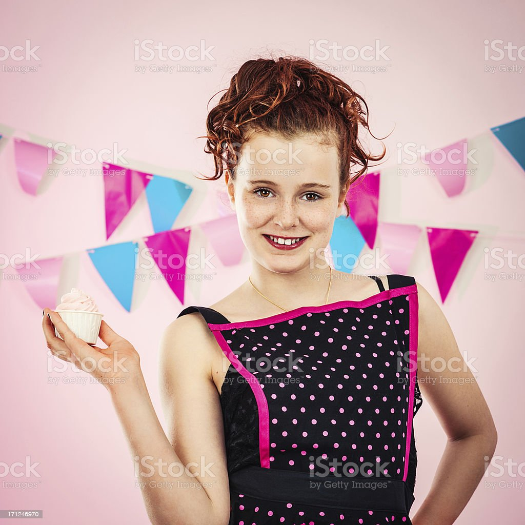Girl with cupcake royalty-free stock photo