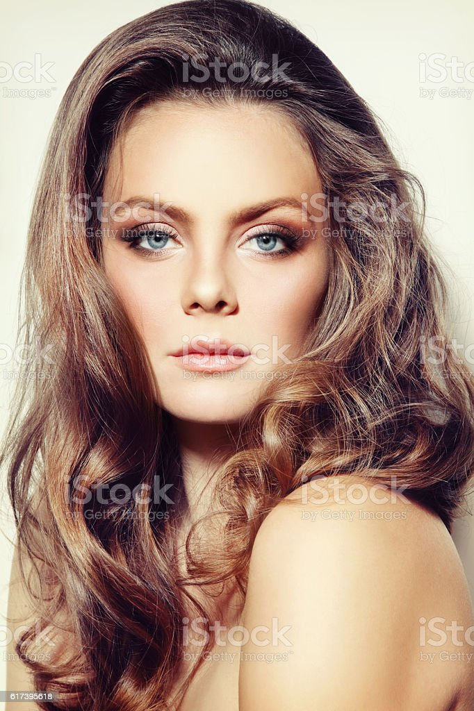 Girl with curly hair stock photo