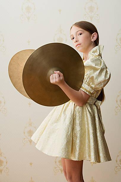 girl with cymbals - cimbaal stockfoto's en -beelden