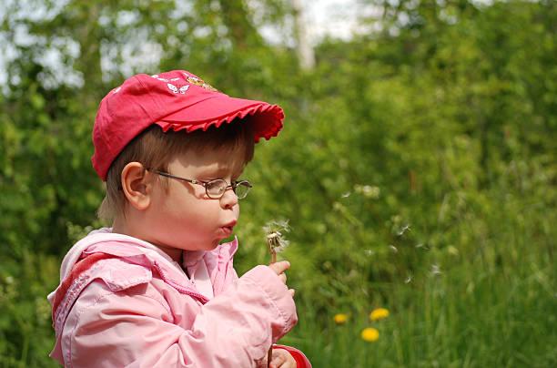 Girl with dandelion stock photo