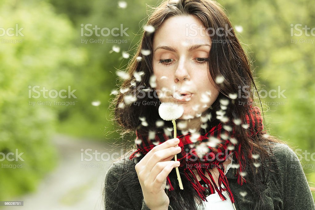 Girl with dandelion royalty-free stock photo