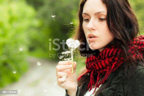 Girl With Dandelion Stock Photo & More Pictures of Activity