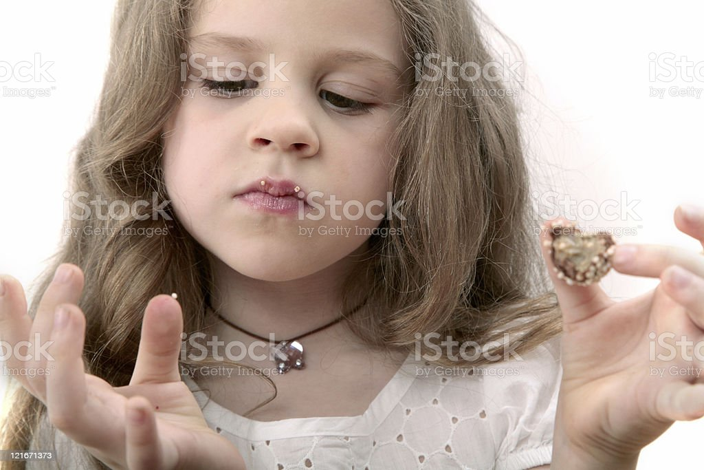 girl with delicious chocolate candy stock photo