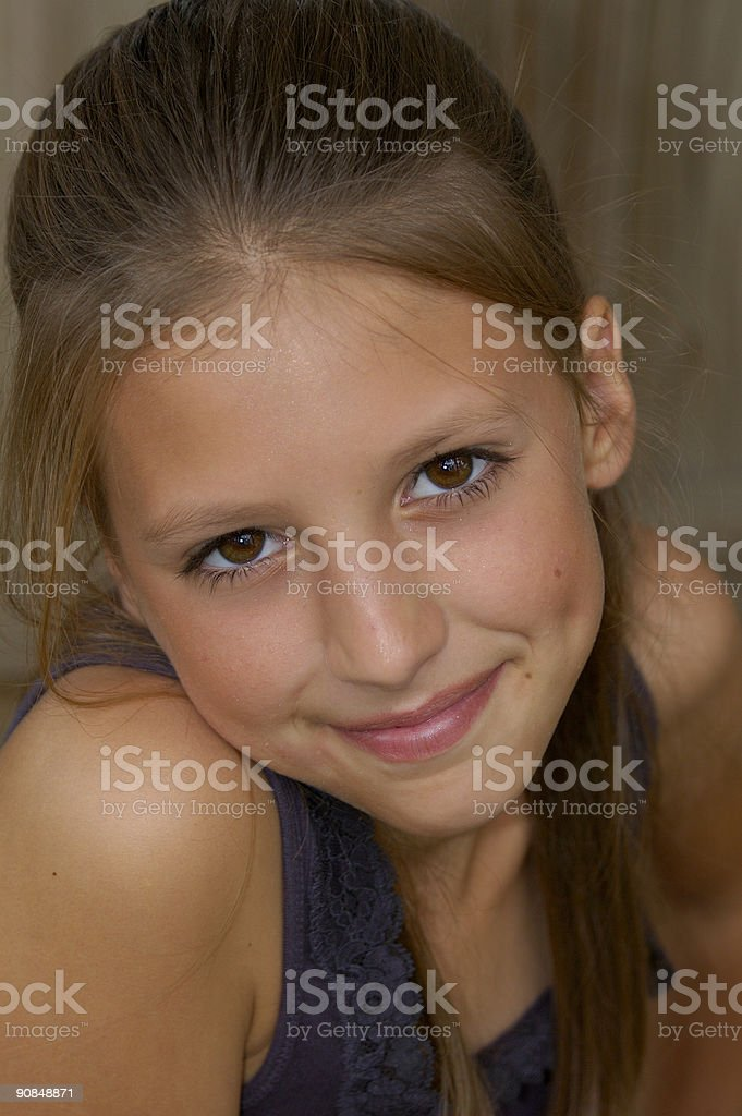 Girl with dimple royalty-free stock photo