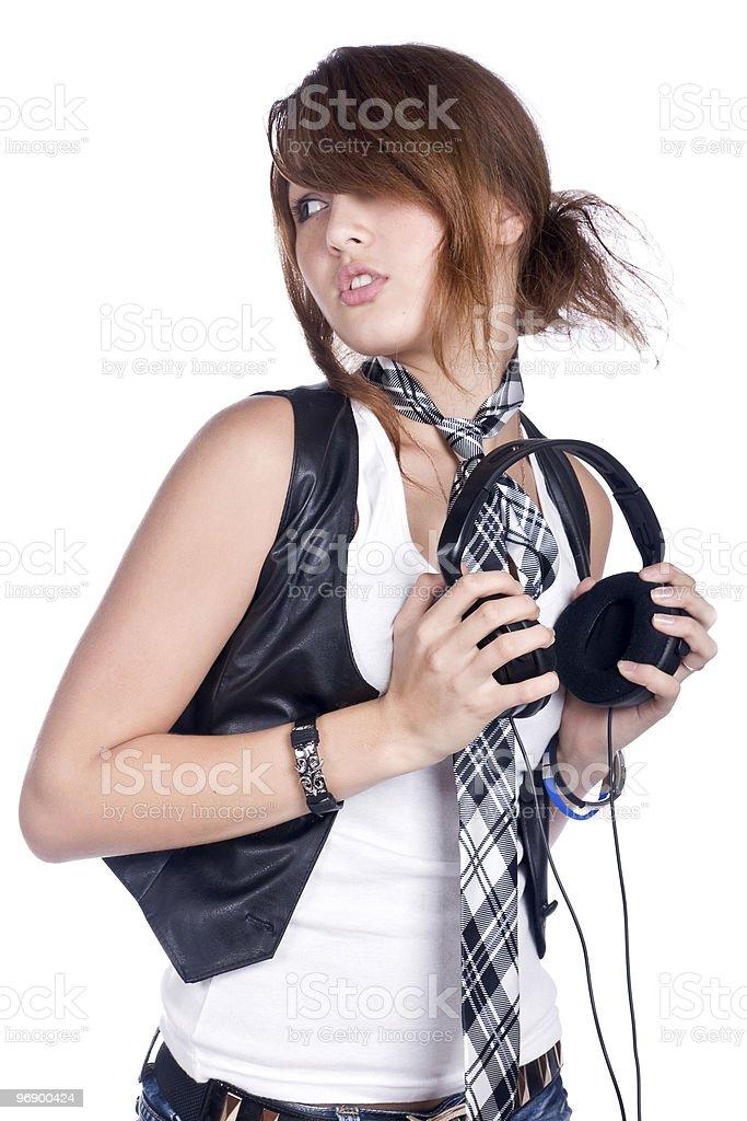 girl with earphone royalty-free stock photo