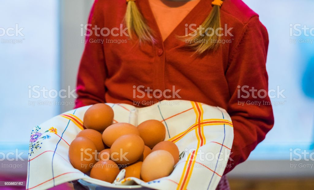 girl with Easter Egg non colored stock photo