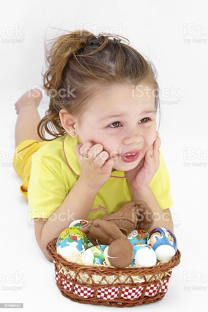 girl with easter eggs royalty free stockfoto