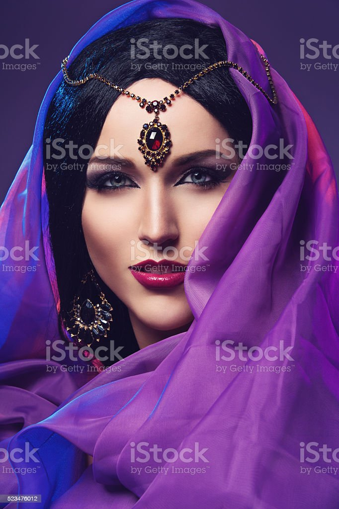 Girl with eastern style makeup stock photo