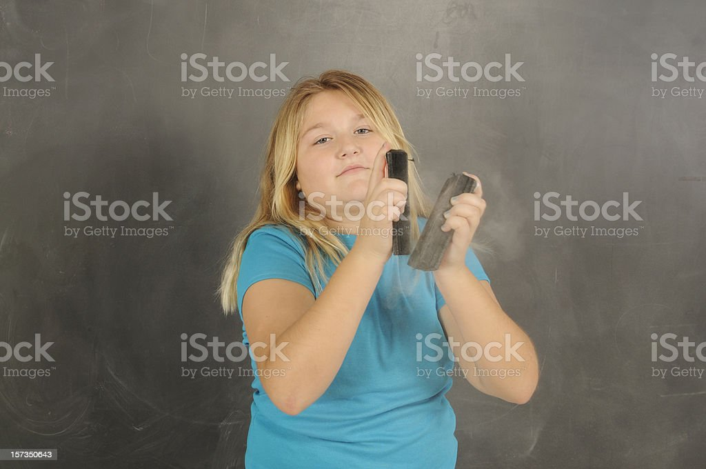 This is a color photograph of an elementary school student at the...