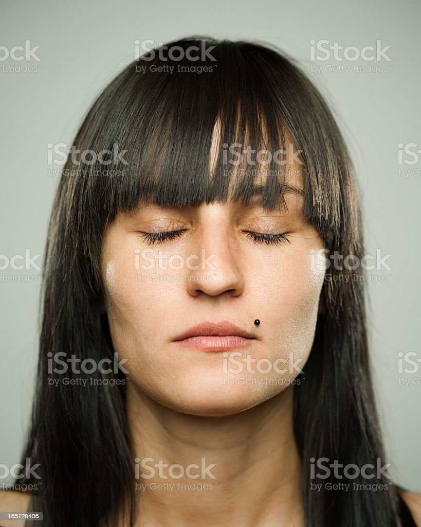 Girl with eyes closed royalty-free stock photo
