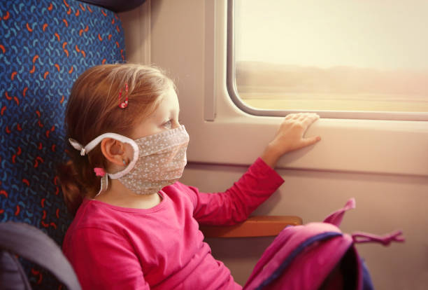 Girl with face mask travelling on the train stock photo