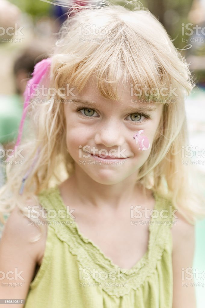 girl with face paint stock photo