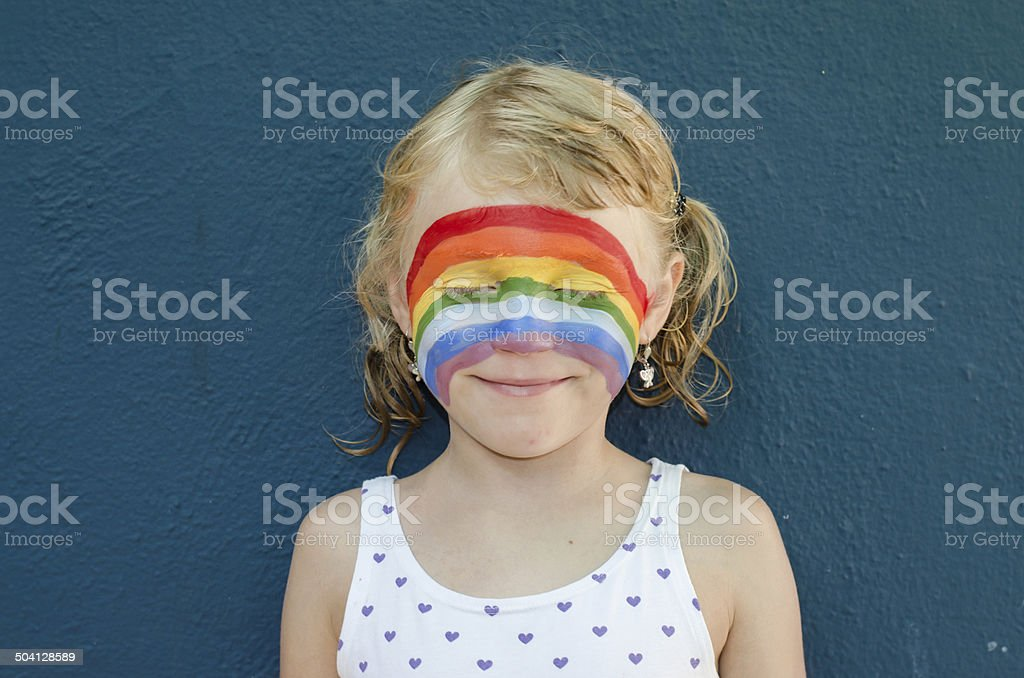 girl with face painting stock photo