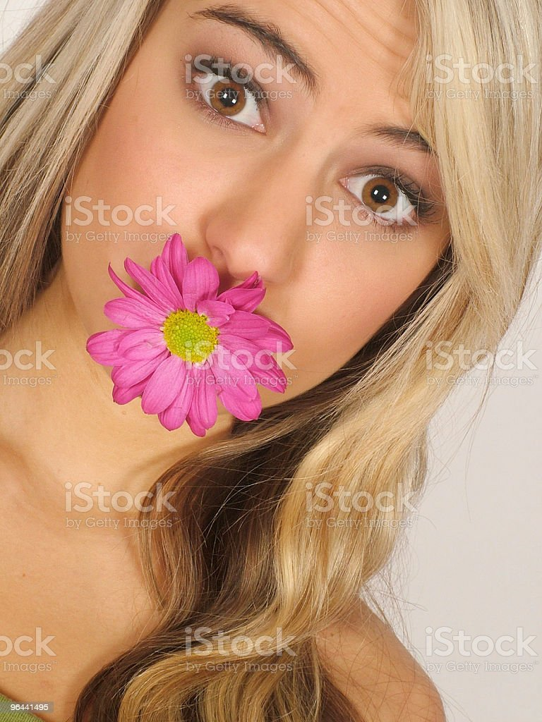 Girl with flower in mouth - Royalty-free Adult Stock Photo